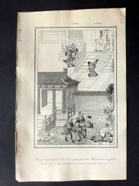 L'Univers C1850 Antique Print. Burning Books and Manuscripts, China 46
